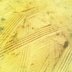 Sandbrand I Reifenspur im Sand, gelbstichig