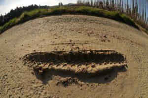 Eine halbmeterlange Reifenspur aus Schlamm, die auf Asphalt liegt und wie ein grinsender Mund aussieht.