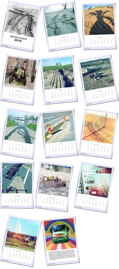 Zwölf Monatsblätter des Moorlander-Kalenders als 3 mal 5 Polaroid-Bildmontage zur Übersicht.