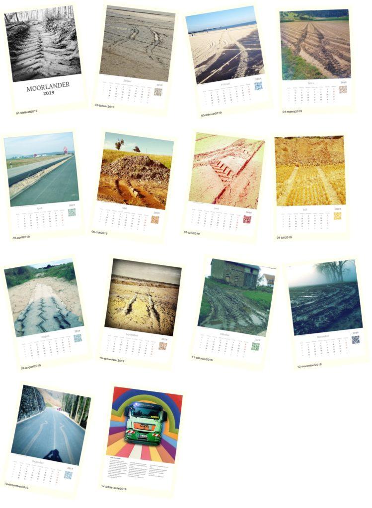Zwölf Kalenderblätter mit Kalendarium als Miniatur-Vorschaugrafiken im Polaroidstil zufällig verwinkelt angeordnet in einem Raster von vier mal vier Bildern. Sie verpassen keine Bilder. Unter den Einzelnen Grafiken befinden sich die Bildtitel Januar bis Dezember 2019.